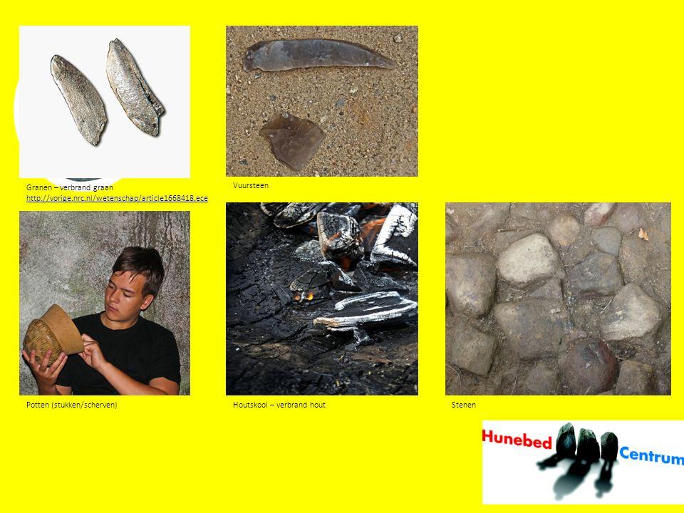 Granen – verbrand graan http://vorige.nrc.nl/wetenschap/article1668418.ece Potten (stukken/scherven) Vuursteen Houtskool – verbrand houtStenen