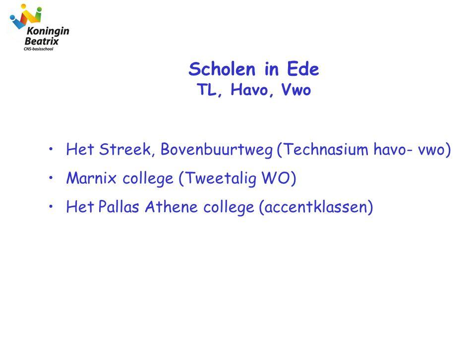 Het Streek, Bovenbuurtweg (Technasium havo- vwo) Marnix college (Tweetalig WO) Het Pallas Athene college (accentklassen) Scholen in Ede TL, Havo, Vwo