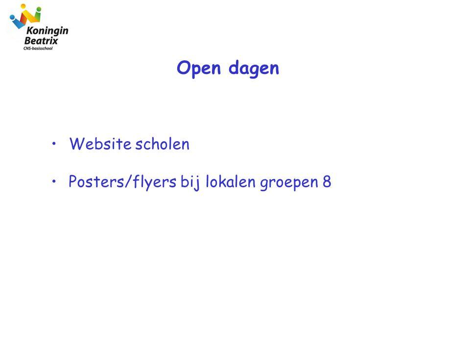 Open dagen Website scholen Posters/flyers bij lokalen groepen 8