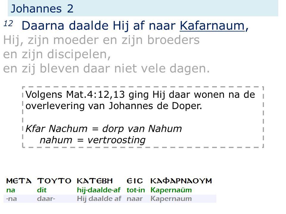 Johannes 2 12 Daarna daalde Hij af naar Kafarnaum, Hij, zijn moeder en zijn broeders en zijn discipelen, en zij bleven daar niet vele dagen.