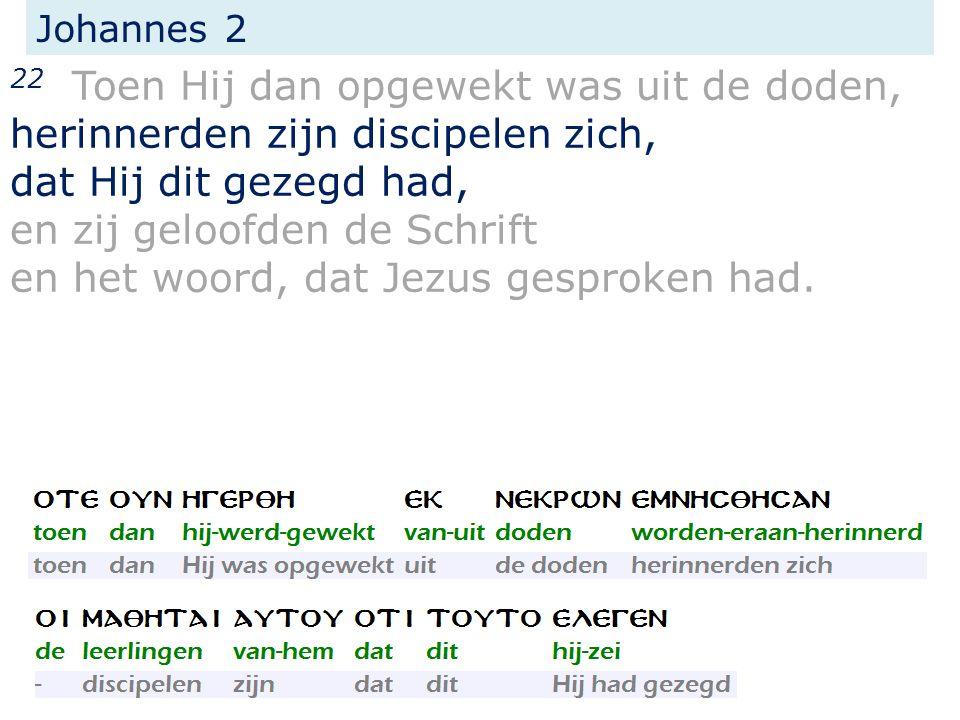 Johannes 2 22 Toen Hij dan opgewekt was uit de doden, herinnerden zijn discipelen zich, dat Hij dit gezegd had, en zij geloofden de Schrift en het woord, dat Jezus gesproken had.