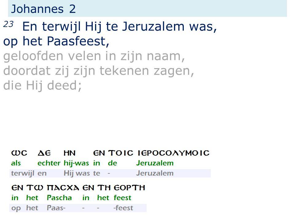Johannes 2 23 En terwijl Hij te Jeruzalem was, op het Paasfeest, geloofden velen in zijn naam, doordat zij zijn tekenen zagen, die Hij deed;