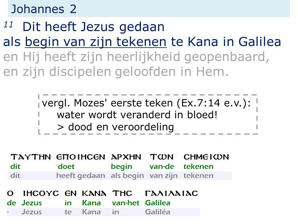 Johannes 2 11 Dit heeft Jezus gedaan als begin van zijn tekenen te Kana in Galilea en Hij heeft zijn heerlijkheid geopenbaard, en zijn discipelen geloofden in Hem.