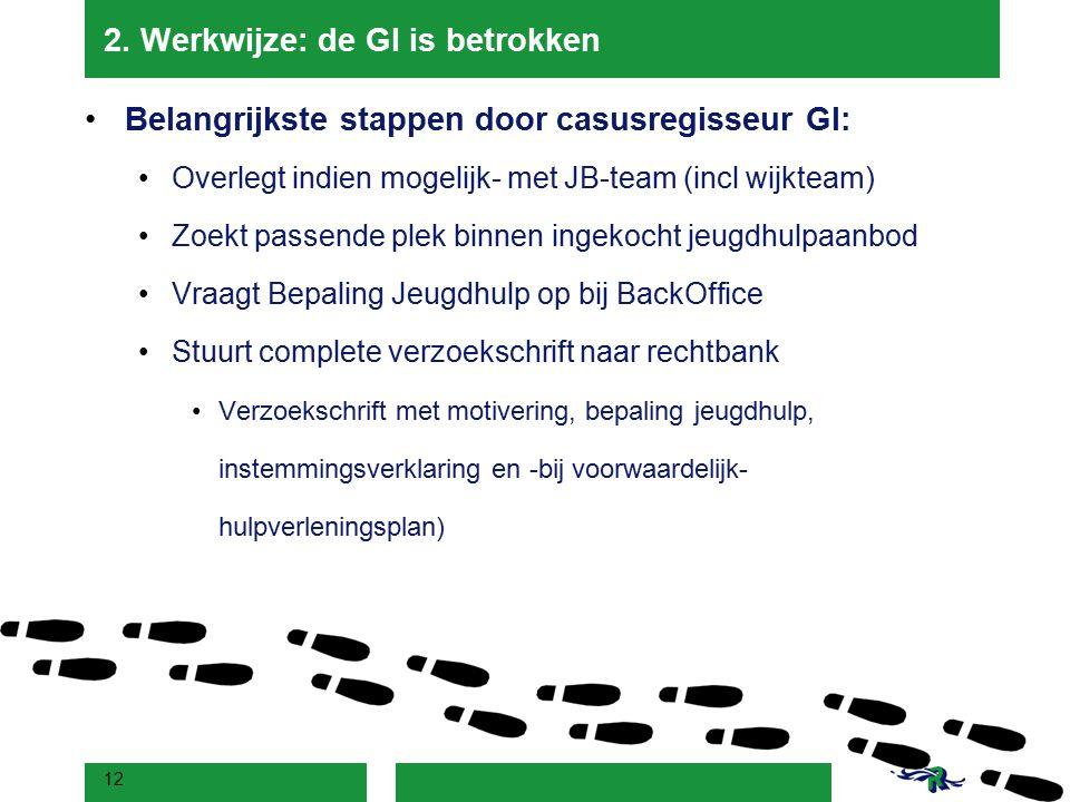 2. Werkwijze: de GI is betrokken Belangrijkste stappen door casusregisseur GI: Overlegt indien mogelijk- met JB-team (incl wijkteam) Zoekt passende pl