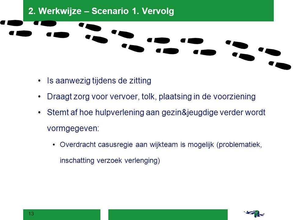 2. Werkwijze – Scenario 1. Vervolg Is aanwezig tijdens de zitting Draagt zorg voor vervoer, tolk, plaatsing in de voorziening Stemt af hoe hulpverleni