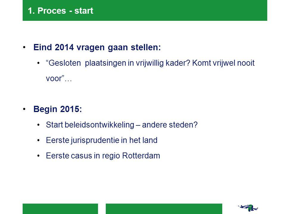 """1. Proces - start Eind 2014 vragen gaan stellen: """"Gesloten plaatsingen in vrijwillig kader? Komt vrijwel nooit voor""""… Begin 2015: Start beleidsontwikk"""
