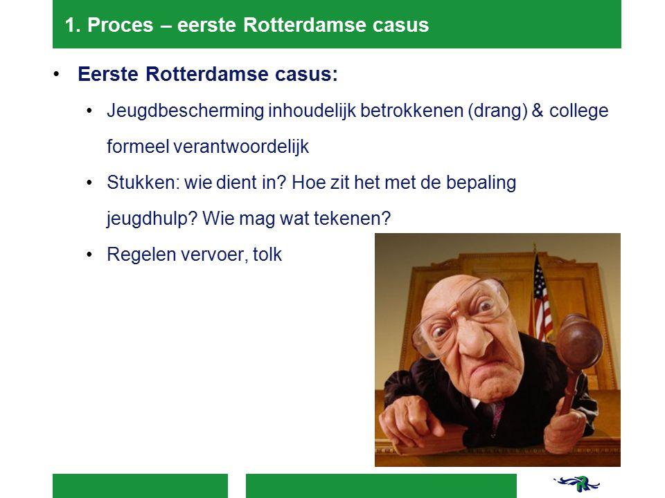 1. Proces – eerste Rotterdamse casus Eerste Rotterdamse casus: Jeugdbescherming inhoudelijk betrokkenen (drang) & college formeel verantwoordelijk Stu