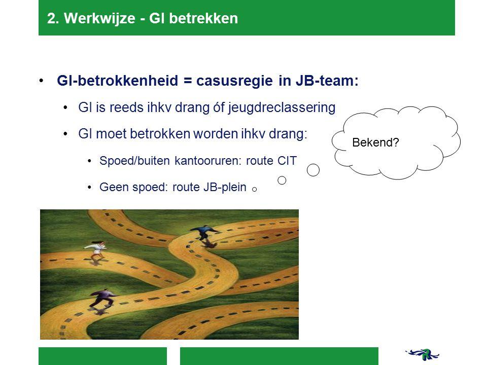 2. Werkwijze - GI betrekken GI-betrokkenheid = casusregie in JB-team: GI is reeds ihkv drang óf jeugdreclassering GI moet betrokken worden ihkv drang: