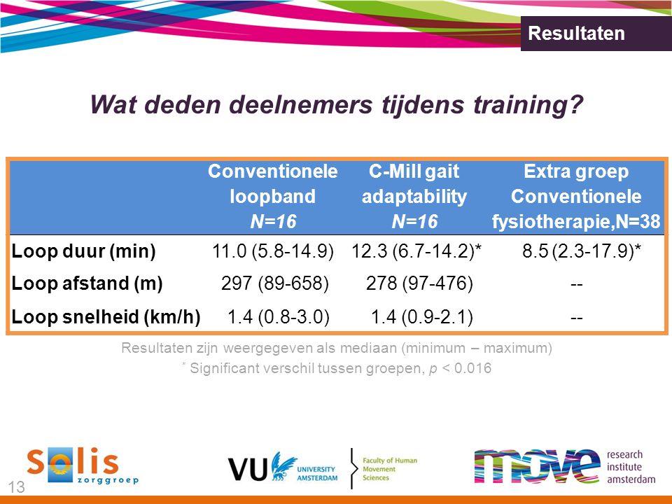Resultaten Wat deden deelnemers tijdens training.