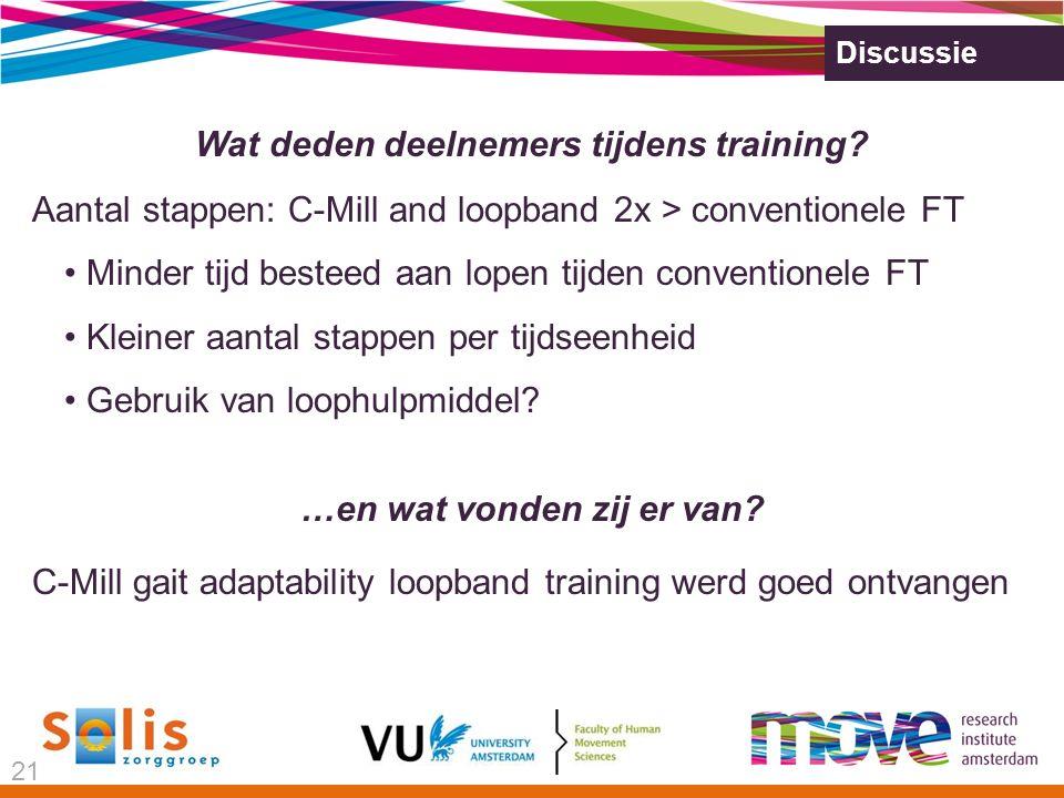 Discussie Wat deden deelnemers tijdens training.