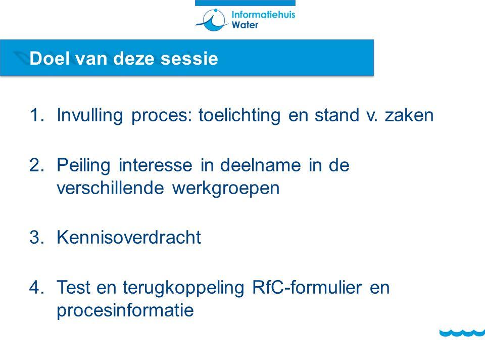 Doel van deze sessie 1.Invulling proces: toelichting en stand v.