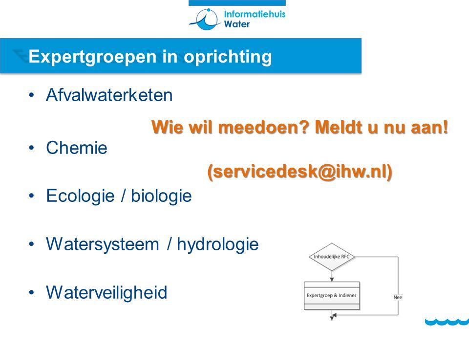Expertgroepen in oprichting Afvalwaterketen Chemie Ecologie / biologie Watersysteem / hydrologie Waterveiligheid Wie wil meedoen.