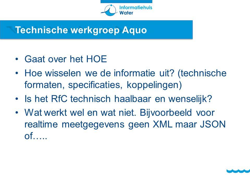 Technische werkgroep Aquo Gaat over het HOE Hoe wisselen we de informatie uit.