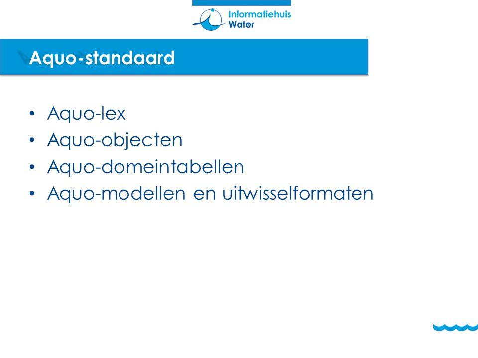 Aquo-standaard Aquo-lex Aquo-objecten Aquo-domeintabellen Aquo-modellen en uitwisselformaten