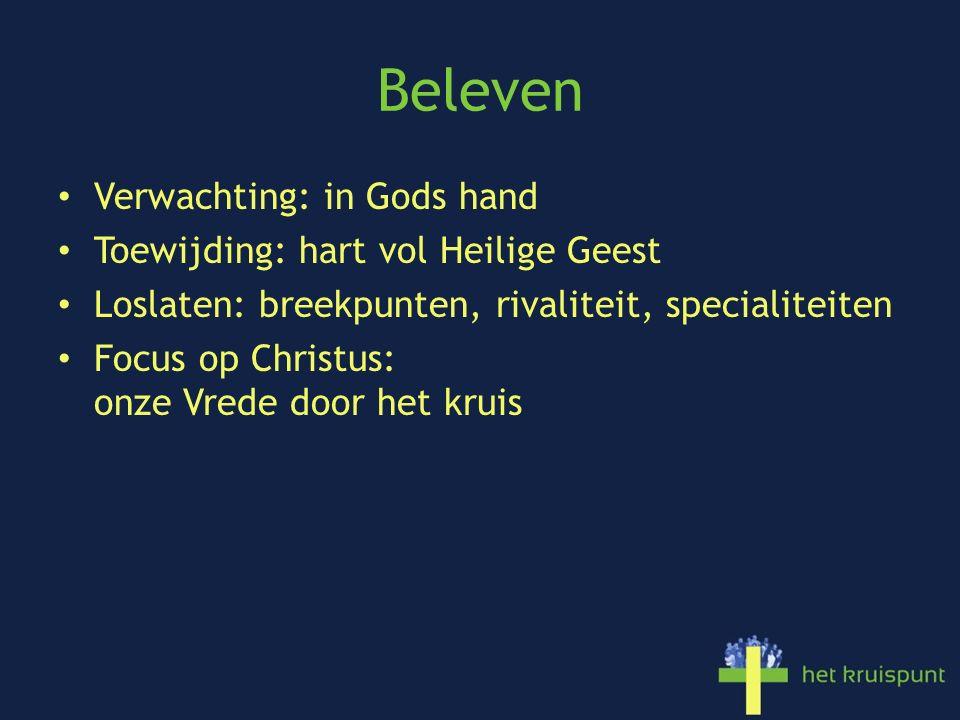 Beleven Verwachting: in Gods hand Toewijding: hart vol Heilige Geest Loslaten: breekpunten, rivaliteit, specialiteiten Focus op Christus: onze Vrede door het kruis