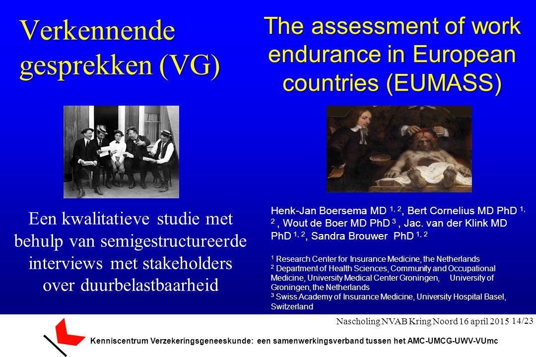 Kenniscentrum Verzekeringsgeneeskunde: een samenwerkingsverband tussen het AMC-UMCG-UWV-VUmc Verkennende gesprekken (VG) Een kwalitatieve studie met b