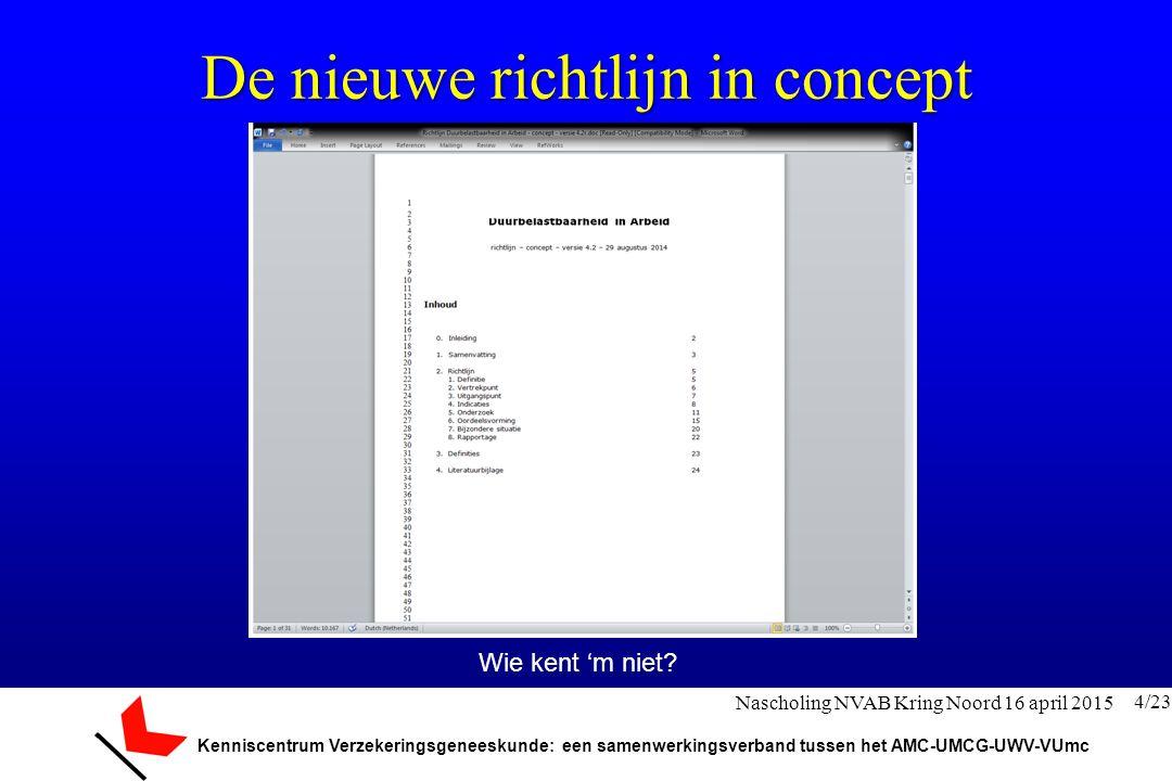 Kenniscentrum Verzekeringsgeneeskunde: een samenwerkingsverband tussen het AMC-UMCG-UWV-VUmc De nieuwe richtlijn in concept Wie kent 'm niet? 4/23 Nas