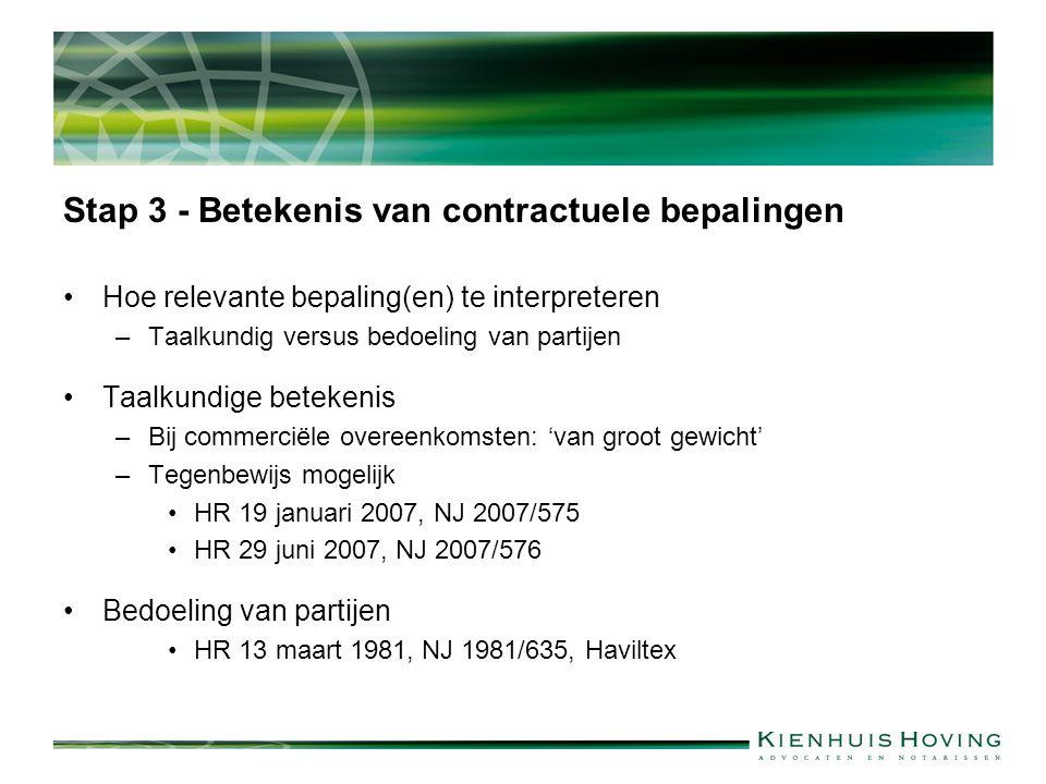 Stap 3 - Betekenis van contractuele bepalingen Hoe relevante bepaling(en) te interpreteren –Taalkundig versus bedoeling van partijen Taalkundige betek