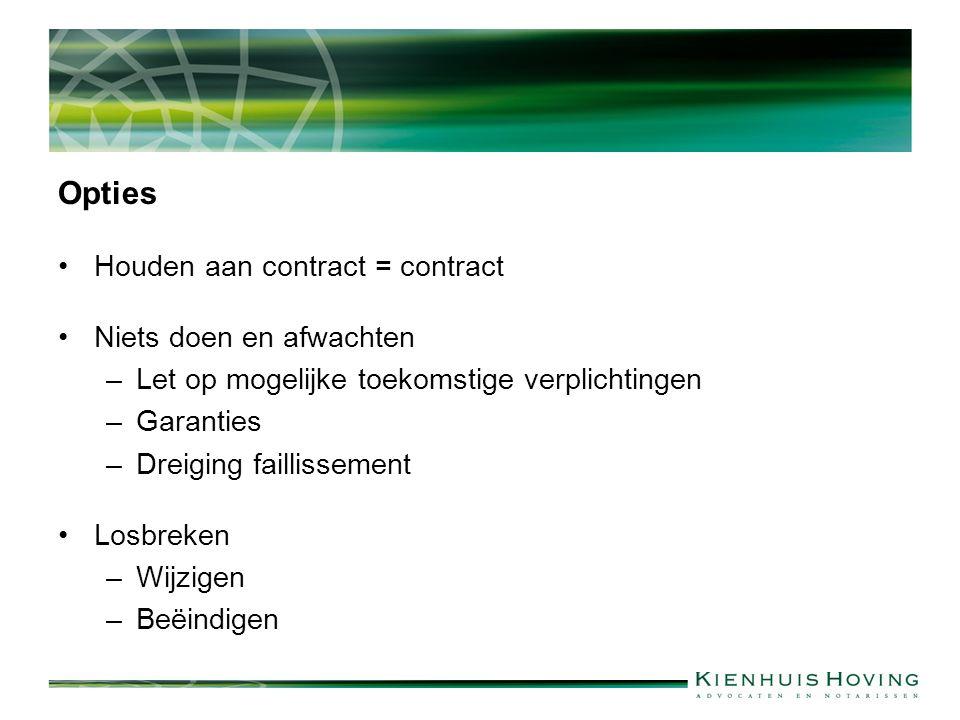 Opties Houden aan contract = contract Niets doen en afwachten –Let op mogelijke toekomstige verplichtingen –Garanties –Dreiging faillissement Losbreken –Wijzigen –Beëindigen