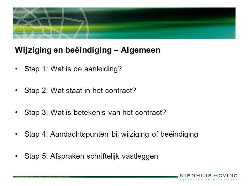 Wijziging en beëindiging – Algemeen Stap 1: Wat is de aanleiding? Stap 2: Wat staat in het contract? Stap 3: Wat is betekenis van het contract? Stap 4