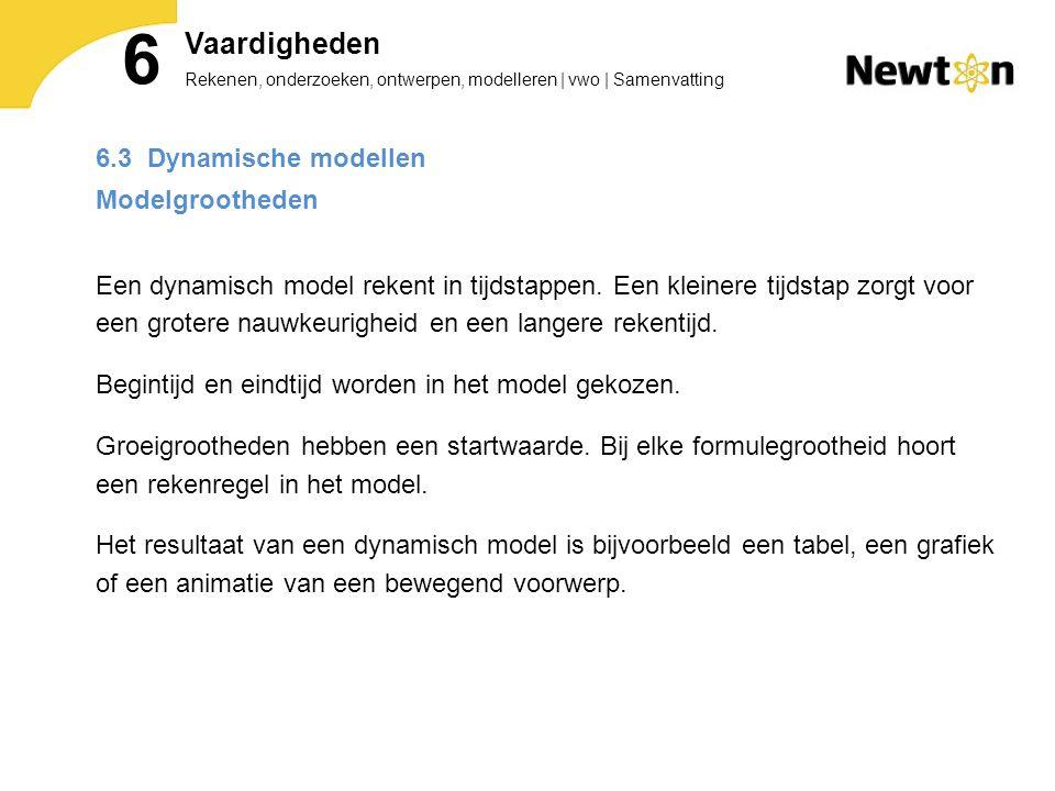 Rekenen, onderzoeken, ontwerpen, modelleren   vwo   Samenvatting 6 Vaardigheden 6.3 Dynamische modellen Modelgrootheden Een dynamisch model rekent in