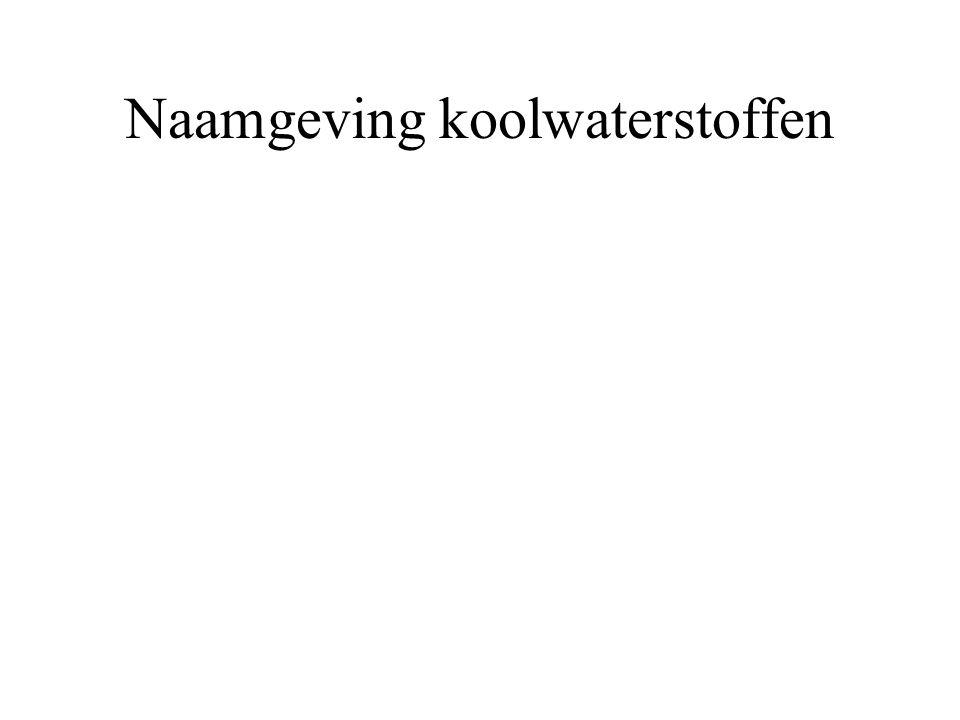 Naamgeving koolwaterstoffen Samenvattend zijgroep achtervoegsel voorvoegsel AlcoholenOH ol AminenNH 2 amine amino Ethers O ─ C n H 2n+1 - alkoxy