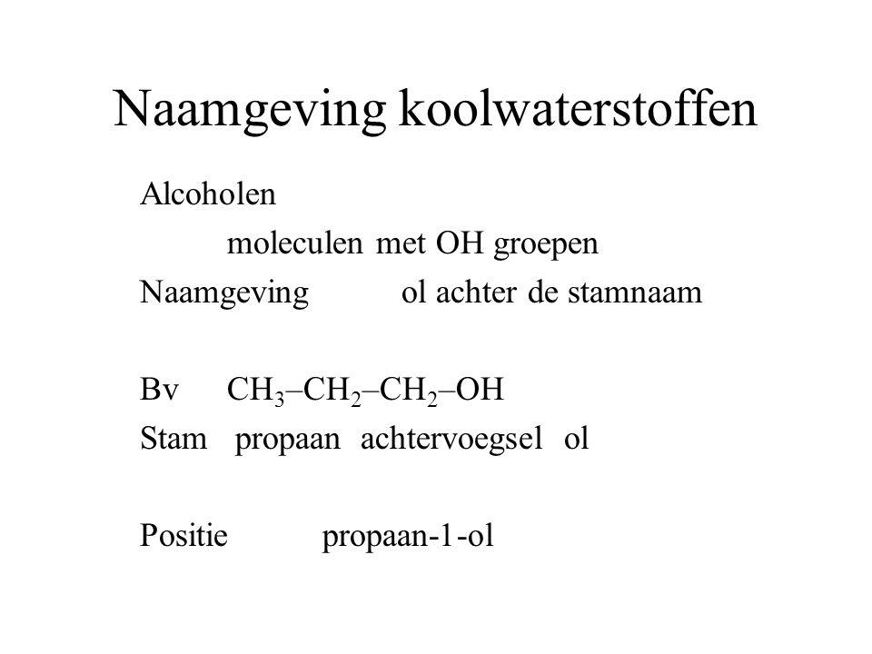Naamgeving koolwaterstoffen Alcoholen moleculen met OH groepen Naamgeving ol achter de stamnaam BvCH 3 –CH 2 –CH 2 –OH Stam propaan achtervoegsel ol Positie propaan-1-ol