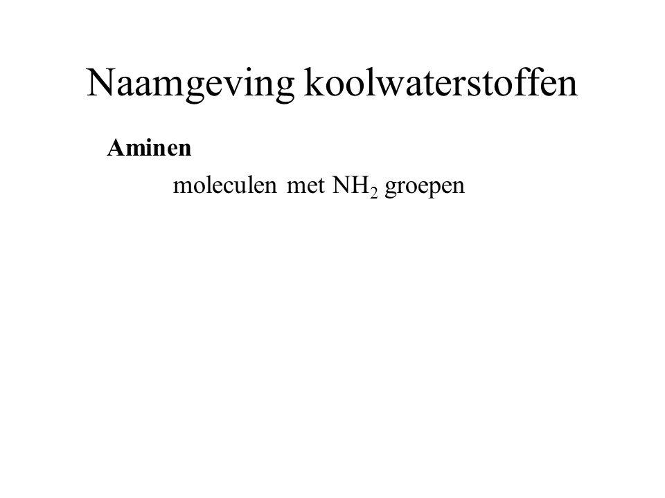 Naamgeving koolwaterstoffen Aminen moleculen met NH 2 groepen