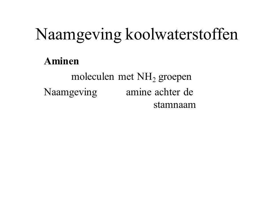 Naamgeving koolwaterstoffen Aminen moleculen met NH 2 groepen Naamgeving amine achter de stamnaam