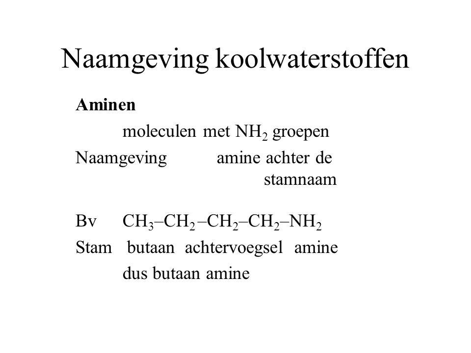 Naamgeving koolwaterstoffen Aminen moleculen met NH 2 groepen Naamgeving amine achter de stamnaam BvCH 3 –CH 2 –CH 2 –CH 2 –NH 2 Stam butaan achtervoegsel amine dus butaan amine