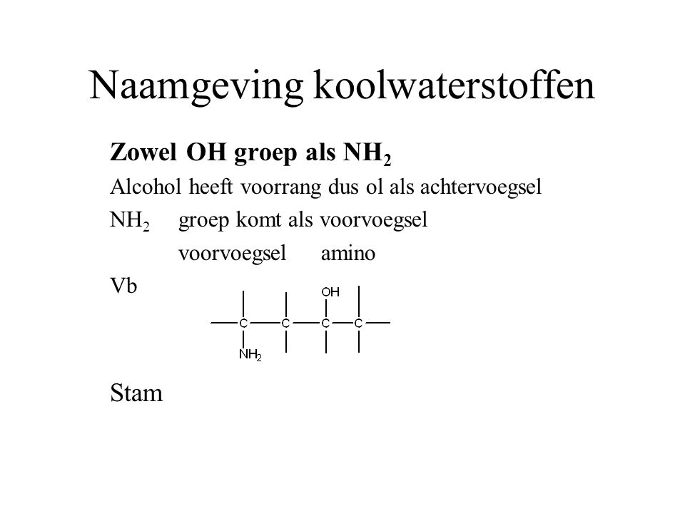 Naamgeving koolwaterstoffen Zowel OH groep als NH 2 Alcohol heeft voorrang dus ol als achtervoegsel NH 2 groep komt als voorvoegsel voorvoegsel amino Vb Stam