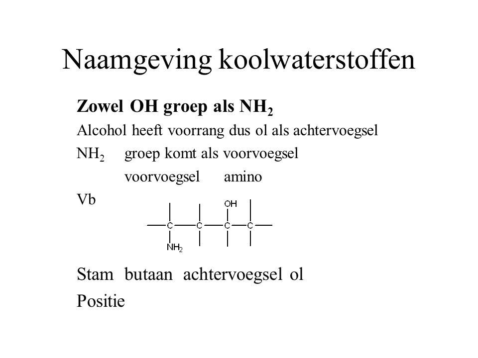 Naamgeving koolwaterstoffen Zowel OH groep als NH 2 Alcohol heeft voorrang dus ol als achtervoegsel NH 2 groep komt als voorvoegsel voorvoegsel amino Vb Stambutaan achtervoegsel ol Positie