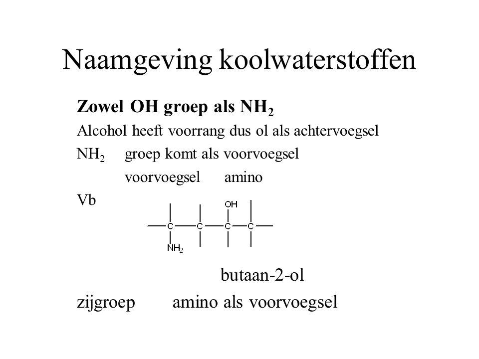 Naamgeving koolwaterstoffen Zowel OH groep als NH 2 Alcohol heeft voorrang dus ol als achtervoegsel NH 2 groep komt als voorvoegsel voorvoegsel amino Vb butaan-2-ol zijgroepamino als voorvoegsel
