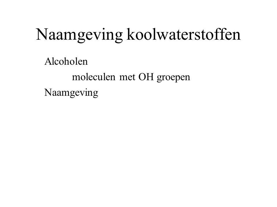 Naamgeving koolwaterstoffen Alcoholen moleculen met OH groepen Naamgeving ol achter de stamnaam