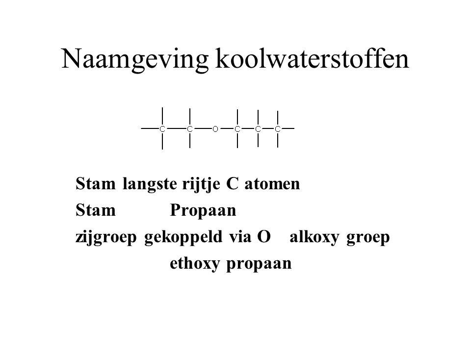 Naamgeving koolwaterstoffen Stamlangste rijtje C atomen StamPropaan zijgroep gekoppeld via O alkoxy groep ethoxy propaan