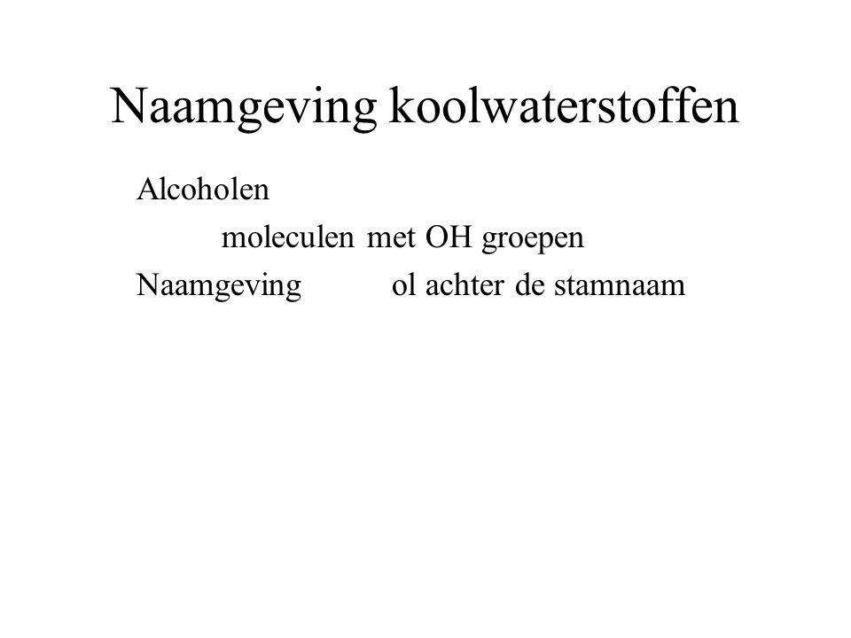 Naamgeving koolwaterstoffen Alcoholen moleculen met OH groepen Naamgeving ol achter de stamnaam BvCH 3 –CH 2 –CH 2 –OH