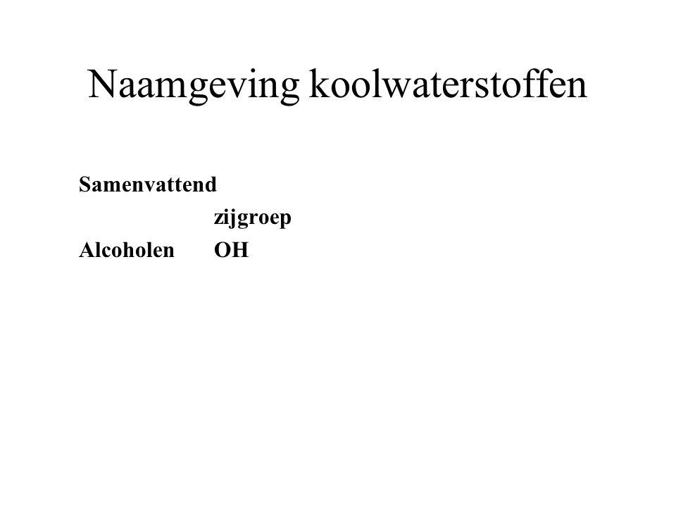 Naamgeving koolwaterstoffen Samenvattend zijgroep AlcoholenOH