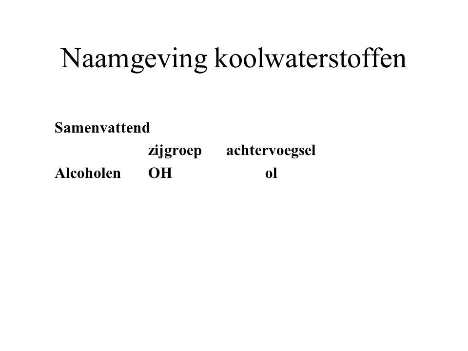 Naamgeving koolwaterstoffen Samenvattend zijgroep achtervoegsel AlcoholenOH ol