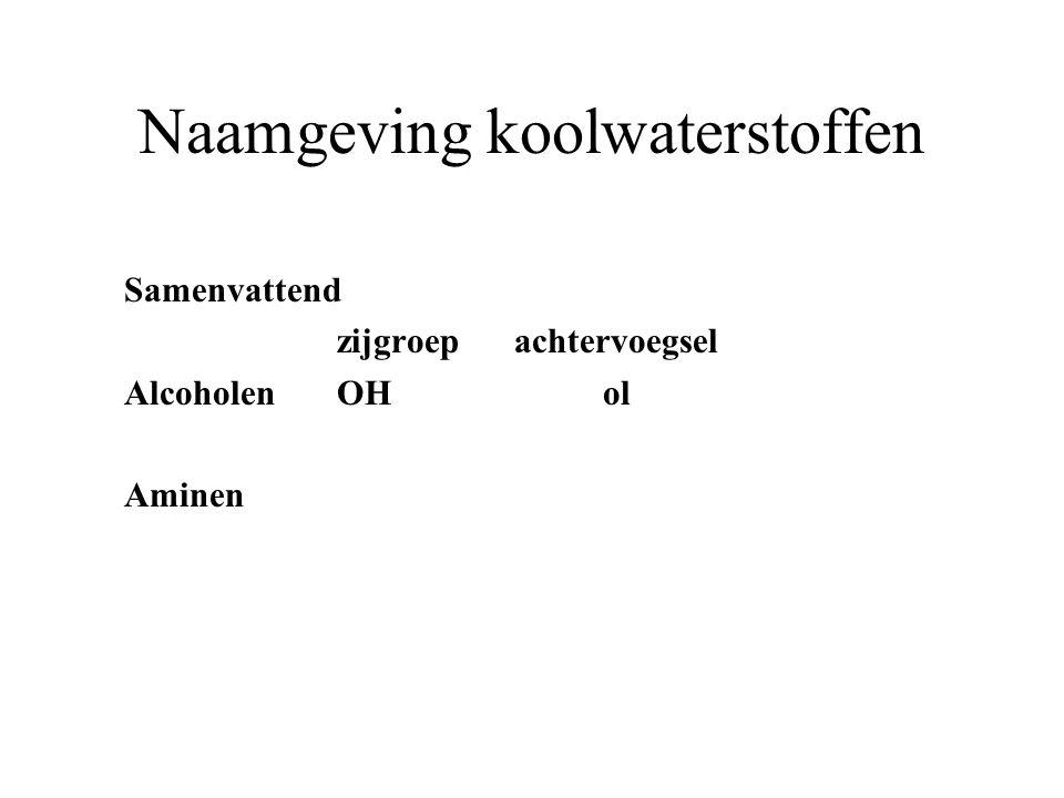 Naamgeving koolwaterstoffen Samenvattend zijgroep achtervoegsel AlcoholenOH ol Aminen
