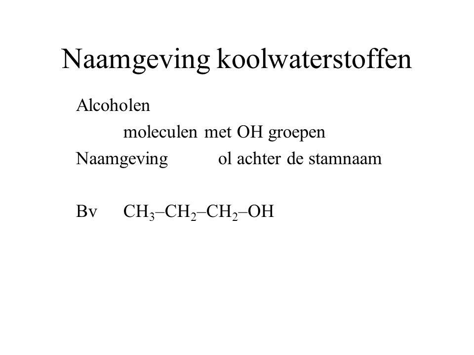 Naamgeving koolwaterstoffen Zowel OH groep als NH 2 Alcohol heeft voorrang dus ol als achtervoegsel NH 2 groep komt als voorvoegsel voorvoegsel amino Vb