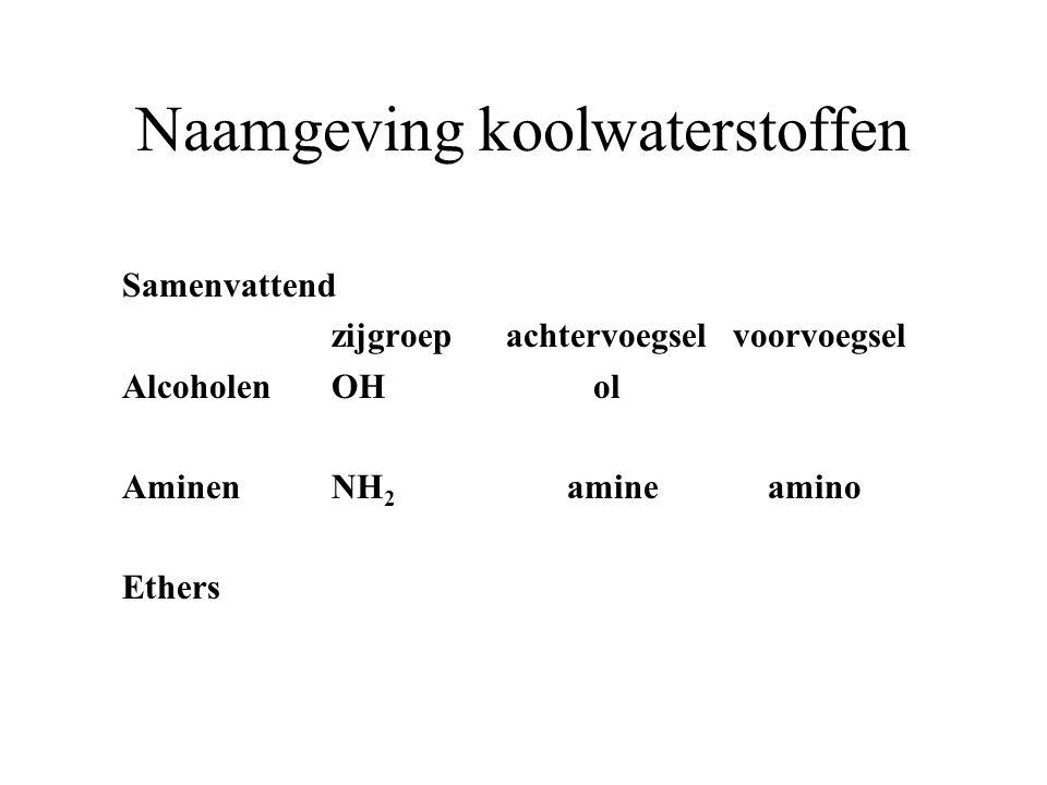 Naamgeving koolwaterstoffen Samenvattend zijgroep achtervoegsel voorvoegsel AlcoholenOH ol AminenNH 2 amine amino Ethers