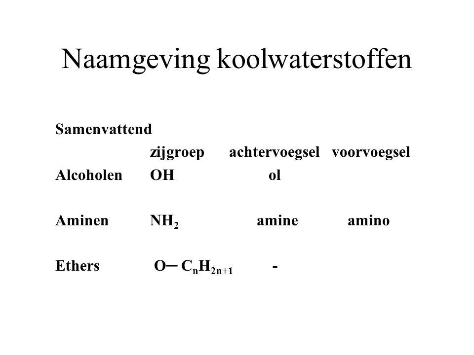 Naamgeving koolwaterstoffen Samenvattend zijgroep achtervoegsel voorvoegsel AlcoholenOH ol AminenNH 2 amine amino Ethers O ─ C n H 2n+1 -