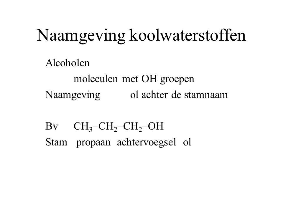 Naamgeving koolwaterstoffen Zowel OH groep als NH 2 Alcohol heeft voorrang dus ol als achtervoegsel NH 2 groep komt als voorvoegsel voorvoegsel amino Vb Stambutaan achtervoegsel ol