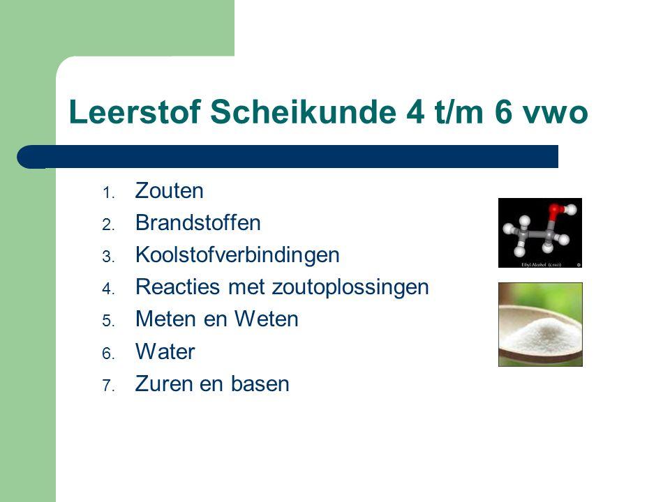 Leerstof Scheikunde 4 t/m 6 vwo 1.Zouten 2. Brandstoffen 3.