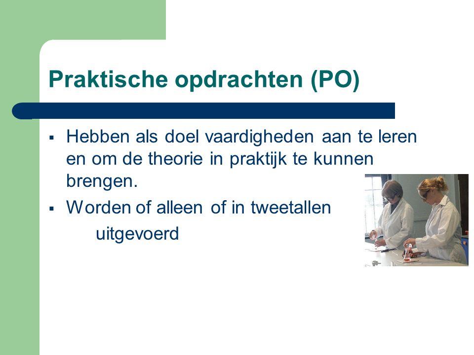 Praktische opdrachten (PO)  Hebben als doel vaardigheden aan te leren en om de theorie in praktijk te kunnen brengen.