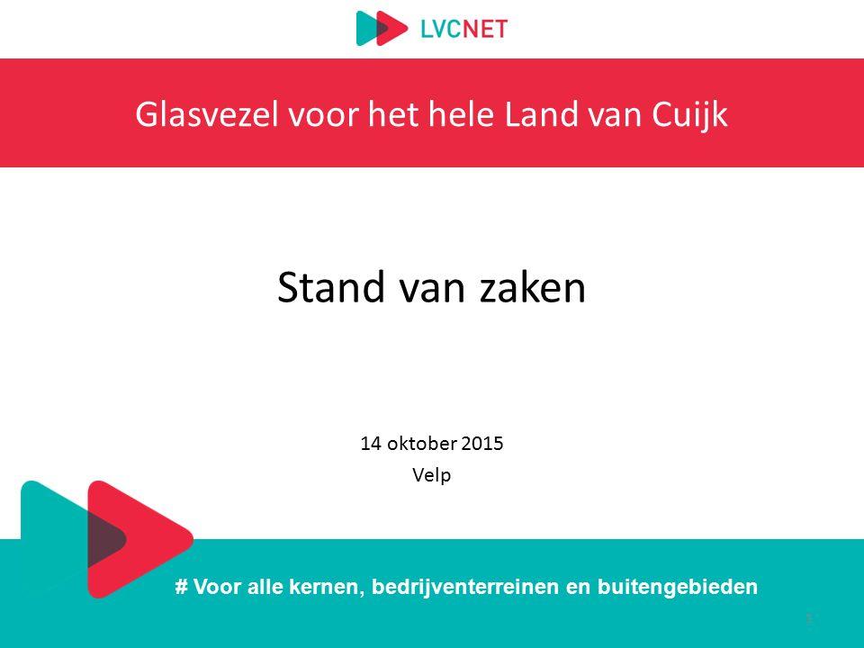 # Voor alle kernen, bedrijventerreinen en buitengebieden Glasvezel voor het hele Land van Cuijk Stand van zaken 14 oktober 2015 Velp 1