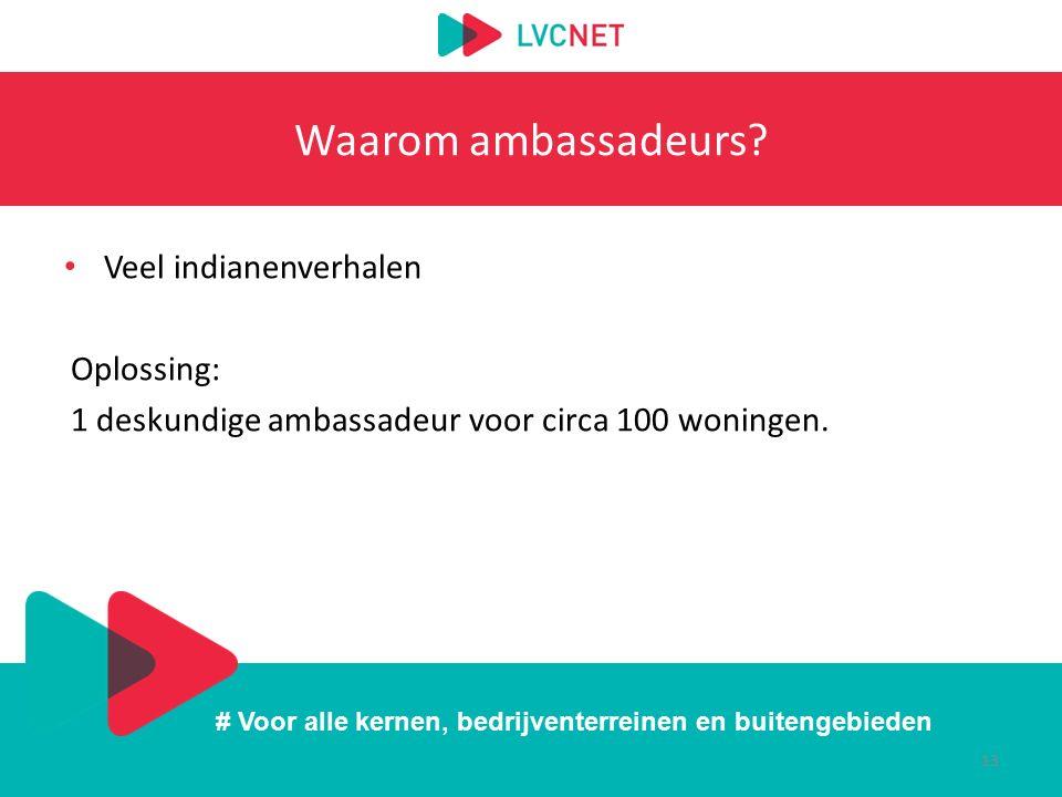 # Voor alle kernen, bedrijventerreinen en buitengebieden Waarom ambassadeurs? Veel indianenverhalen Oplossing: 1 deskundige ambassadeur voor circa 100
