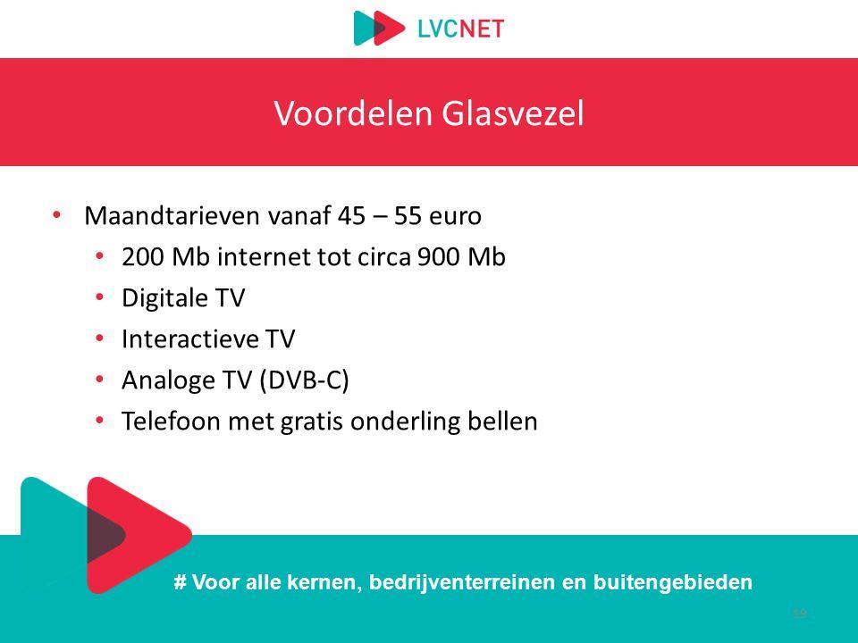 # Voor alle kernen, bedrijventerreinen en buitengebieden Voordelen Glasvezel Maandtarieven vanaf 45 – 55 euro 200 Mb internet tot circa 900 Mb Digital