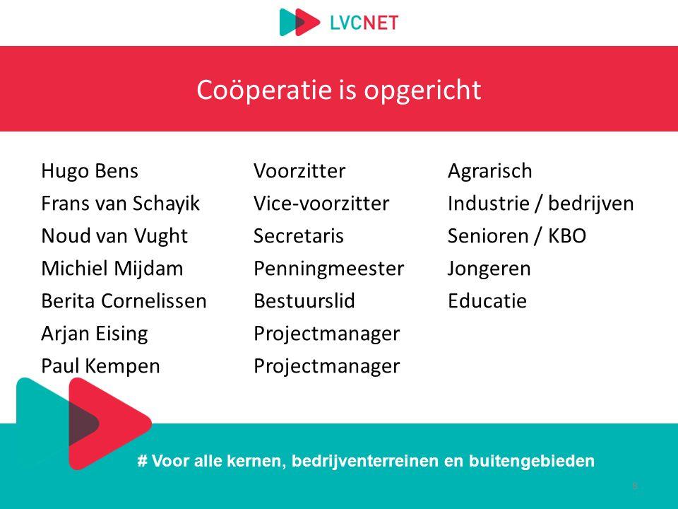 # Voor alle kernen, bedrijventerreinen en buitengebieden Coöperatie is opgericht Hugo BensVoorzitterAgrarisch Frans van SchayikVice-voorzitterIndustri