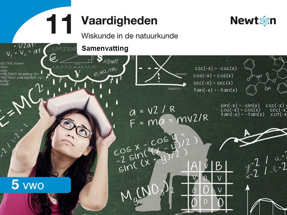 Wiskunde in de natuurkunde | vwo | Samenvatting 11 Vaardigheden 11.1 Rekenvaardigheden Basisrekenvaardigheden Met rekenen in verhouding wordt bedoeld dat twee grootheden met dezelfde factor toe- of afnemen.